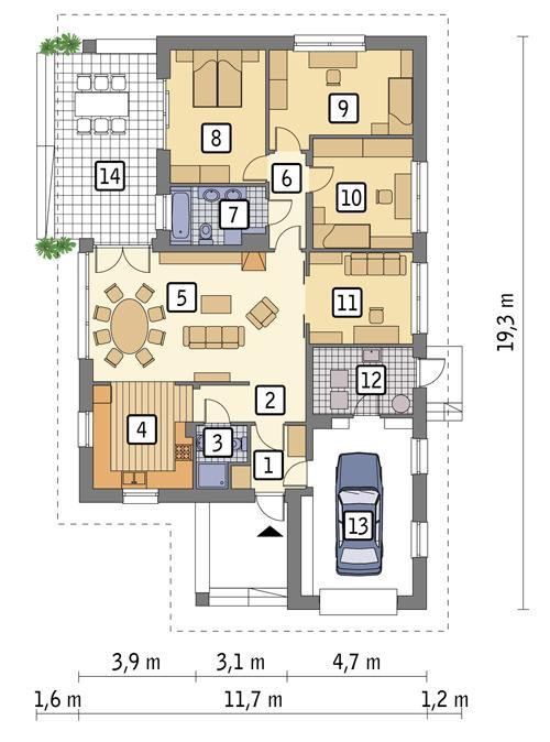 Rzut parteru POW. 143,5 m²