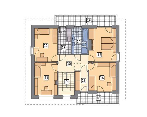 Rzut piętra POW. 99,2 m²