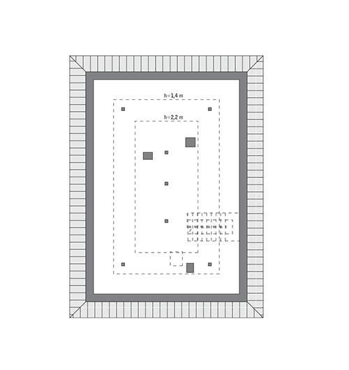 Rzut poddasza: do indywidualnej adaptacji (51,9 m2 powierzchni użytkowej)