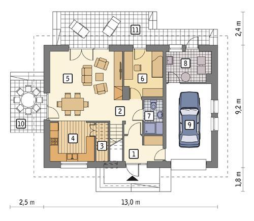 Rzut parteru POW. 86,9 m²