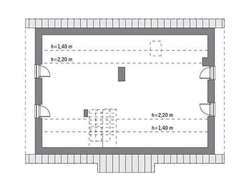 Rzut poddasza: do indywidualnej adaptacji (59,0 m2 powierzchni użytkowej)