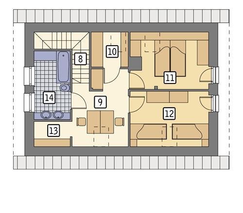 Rzut poddasza: wersja podstawowa POW. 52,7 m²