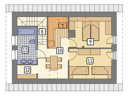 Rzut poddasza: wariant 1 POW. 52,7 m²