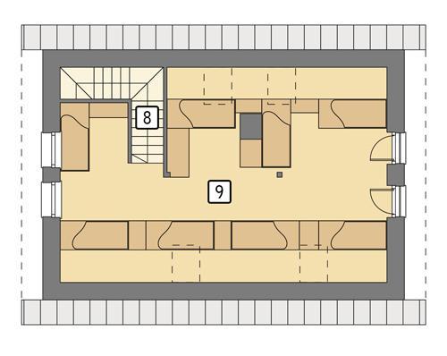 Rzut poddasza: wariant 2 POW. 54,5 m²