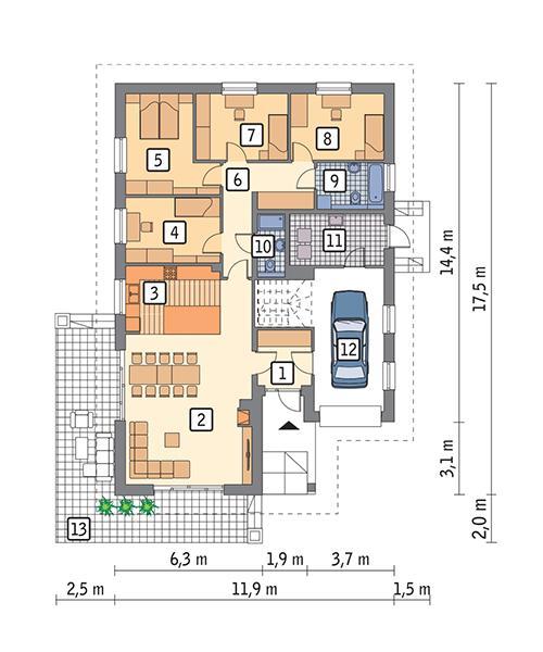 Rzut parteru POW. 149,4 m²