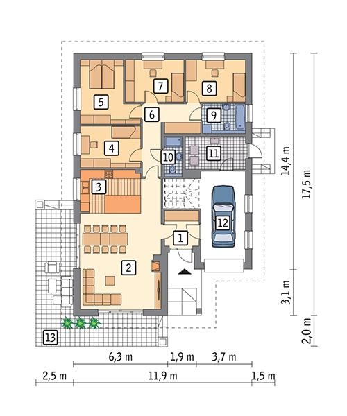 Rzut parteru POW. 149,9 m²