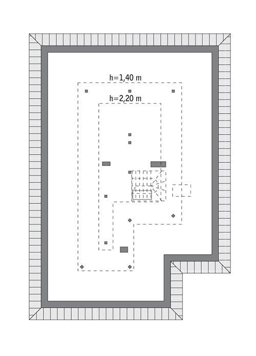 Rzut poddasza: Do indywidualnej adaptacji (48,9 m2 powierzchni użytkowej)