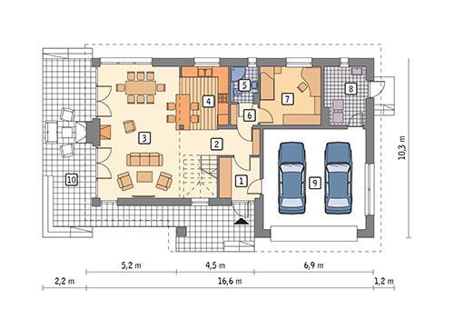Rzut parteru POW. 118,4 m²