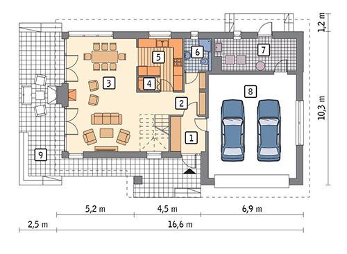 Rzut parteru POW. 118,7 m²