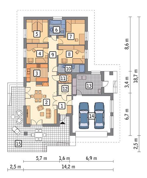 Rzut parteru: wersja podstawowa POW. 165,4 m²