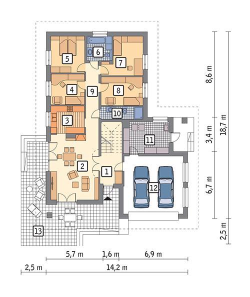 Rzut parteru: propozycja aranżacji gdy adaptujemy poddasze POW. 165,9 m²