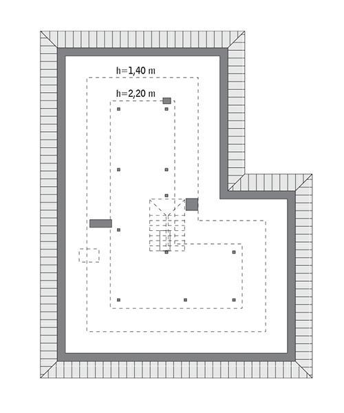 Rzut poddasza: Do indywidualnej adaptacji (87,9 m2 powierzchni użytkowej)