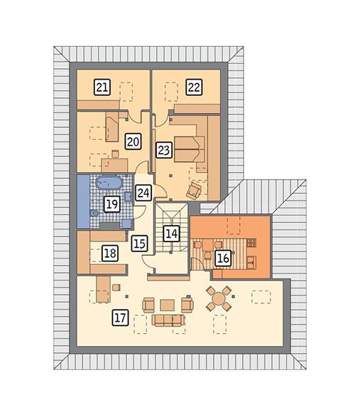 Rzut poddasza: propozycja aranżacji gdy adaptujemy poddasze POW. 181,7 m²