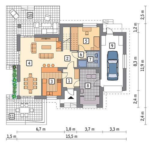 Rzut parteru POW. 111,3 m²