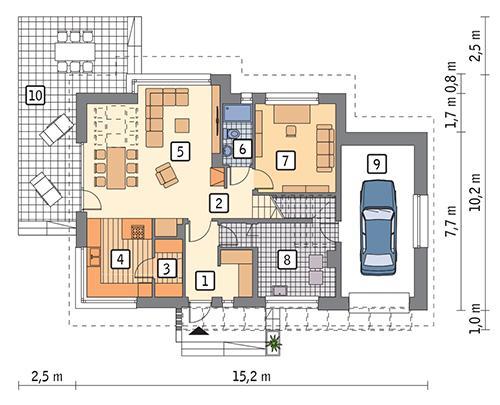 Rzut parteru POW. 106,1 m²