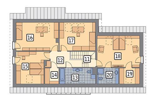 Rzut poddasza POW. 120,1 m²