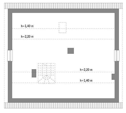 Rzut poddasza: do indywidualnej adaptacji (47,6 m2 powierzchni użytkowej)