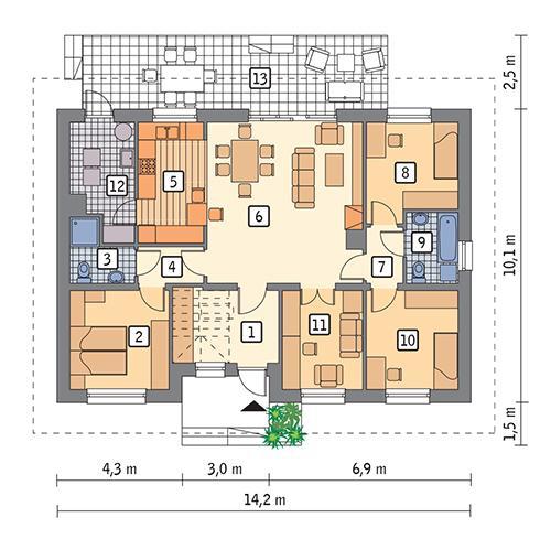 Rzut parteru POW. 106,0 m²