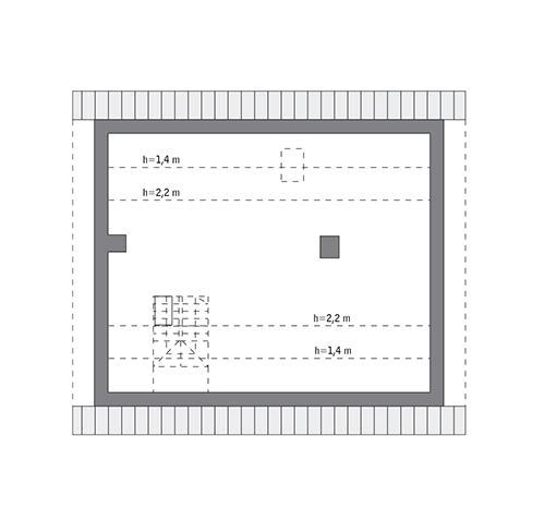 Rzut poddasza: do indywidualnej adaptacji (62,5 m2 powierzchni użytkowej)