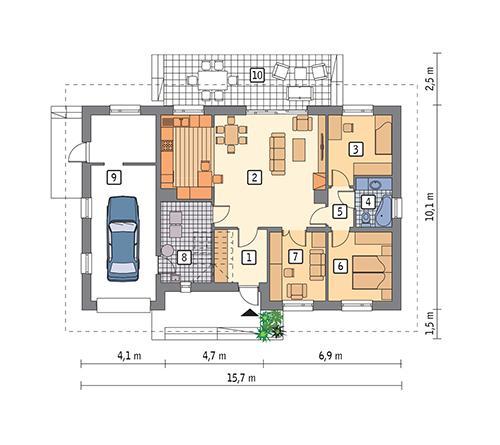 Rzut parteru POW. 118,6 m²