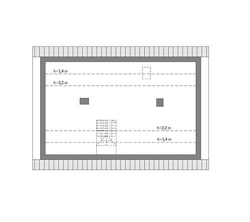 Rzut poddasza: do indywidualnej adaptacji (81,5 m2 powierzchni użytkowej)