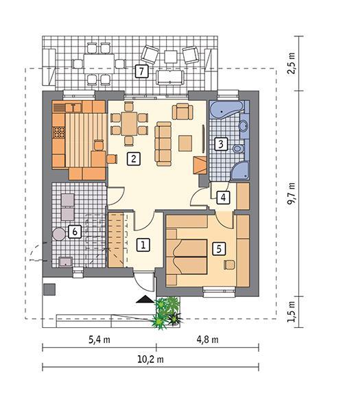 Rzut parteru POW. 69,5 m²