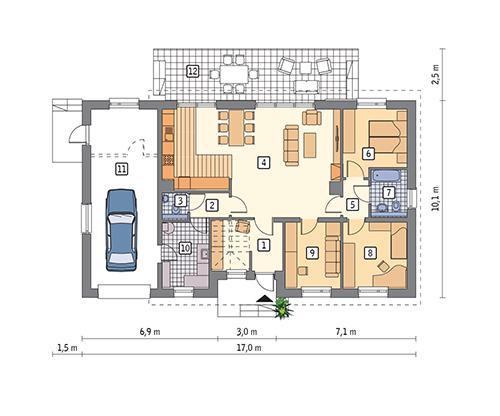 Rzut parteru POW. 130,9 m²