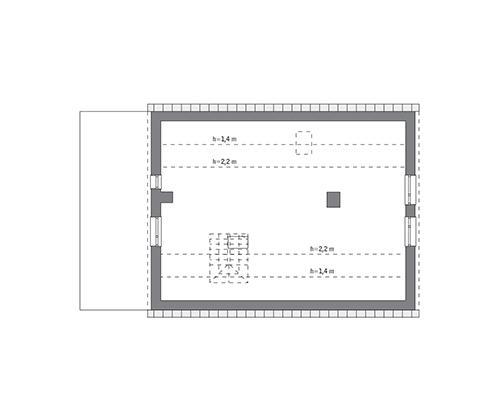 Rzut poddasza: do indywidualnej adaptacji (68,7 m2 powierzchni użytkowej)