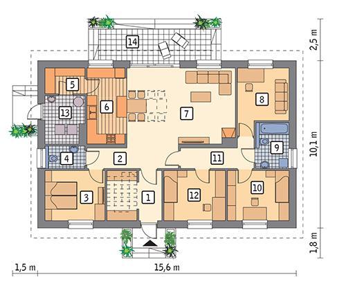 Rzut parteru POW. 123,7 m²