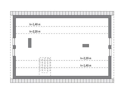 Rzut poddasza: do indywidualnej adaptacji (77,3 m2 powierzchni użytkowej)
