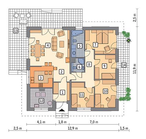 Rzut parteru POW. 117,9 m²