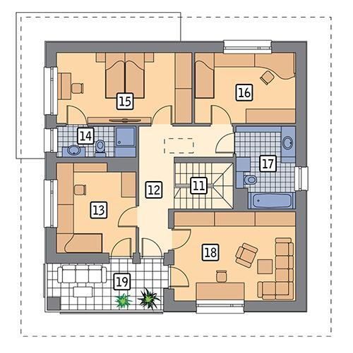 Rzut piętra POW. 95,6 m²