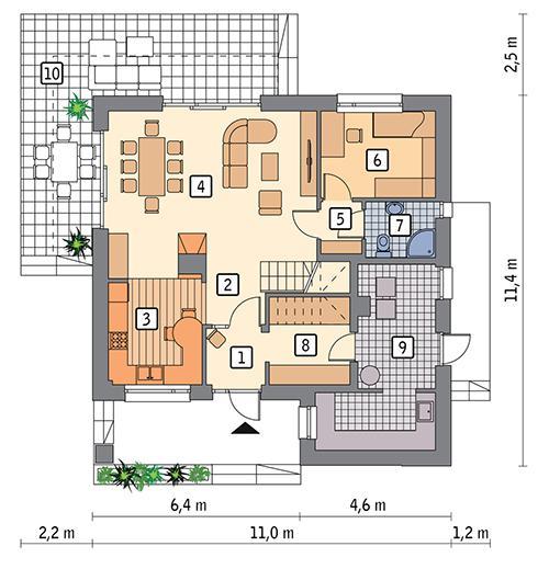 Rzut parteru POW. 81,2 m²