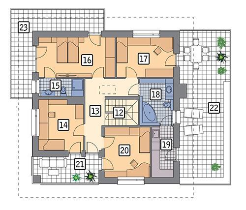 Rzut piętra POW. 148,4 m²