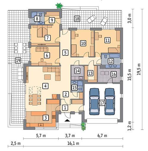 RZUT PARTERU POW. 210,3 m²