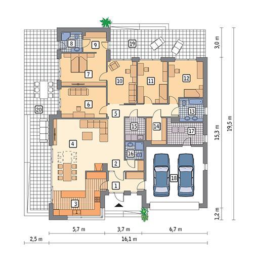 Rzut parteru POW. 209,6 m²