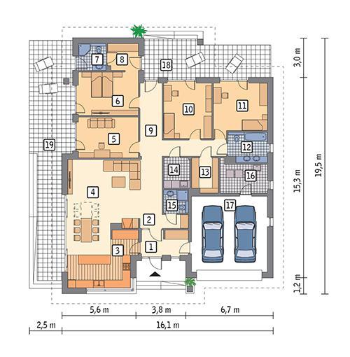 Rzut parteru POW. 210,4 m²