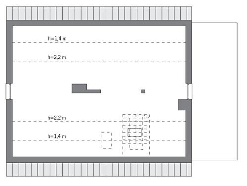 Rzut poddasza: do indywidualnej adaptacji (74,7 m2 powierzchni użytkowej)