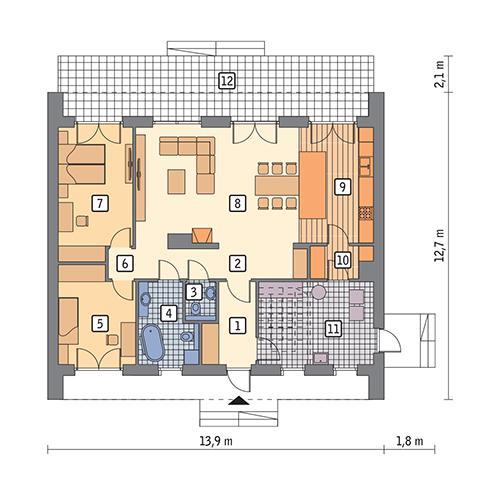 Rzut parteru POW. 118,0 m²