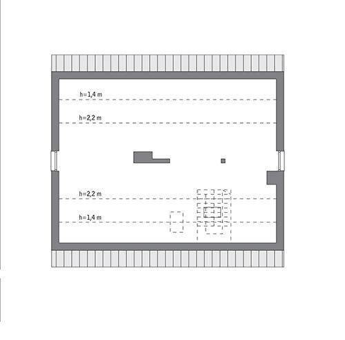 Rzut poddasza: Rzut poddasza do indywidualnej adaptacji (74,7 m2 powierzchni użytkowej)