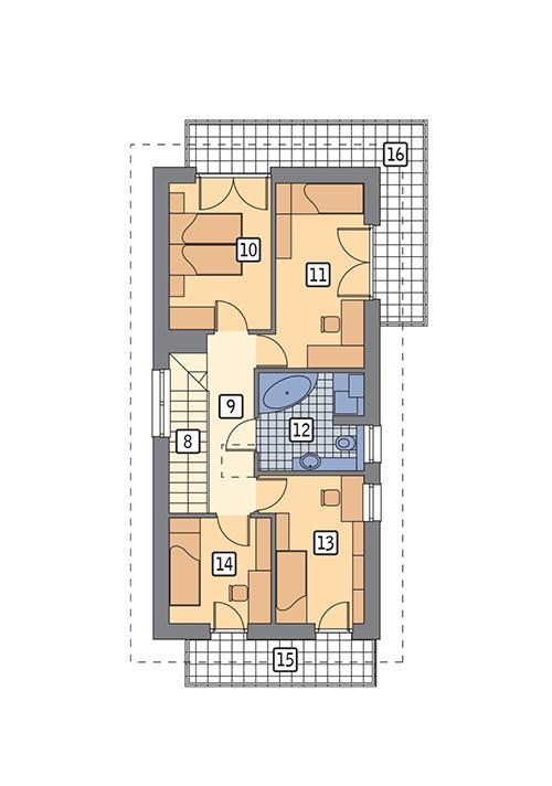 Rzut piętra POW. 77,6 m²