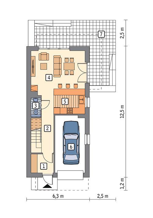 Rzut parteru POW. 59,1 m²