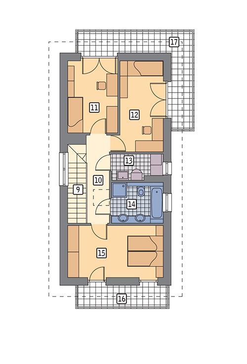 Rzut piętra POW. 74,0 m²