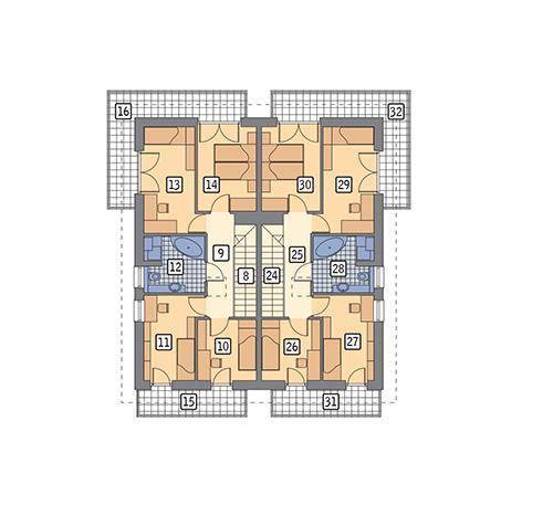 Rzut piętra POW. 156,0 m²