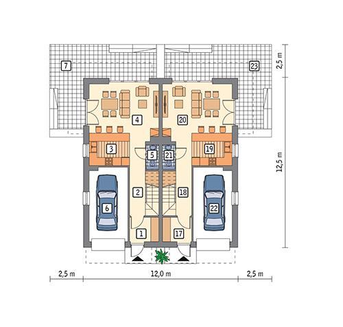 Rzut parteru POW. 118,2 m²