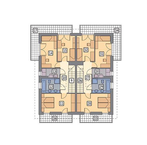 Rzut piętra POW. 148,0 m²