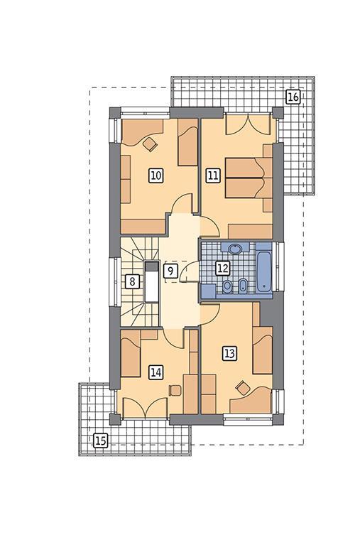 Rzut piętra POW. 85,2 m²