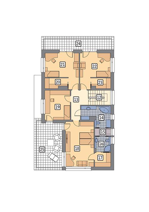 Rzut piętra POW. 139,1 m²