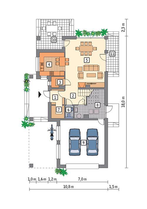 Rzut parteru POW. 106,9 m²