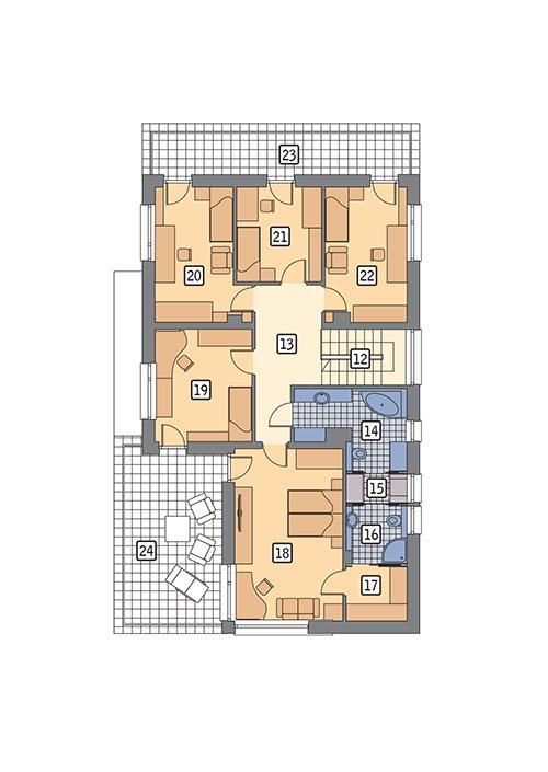 Rzut piętra POW. 139,5 m²